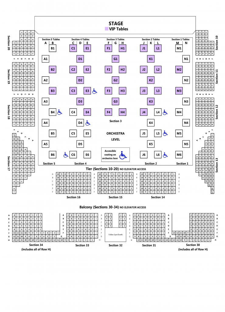 War Memorial Auditorium Cabaret Seating Map
